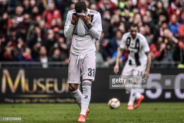 TOPSHOT Juventus' Italian forward Federico Bernardeschi reacts at the end of the Italian Serie A football Match Genoa vs Juventus on March 17 2019 at...