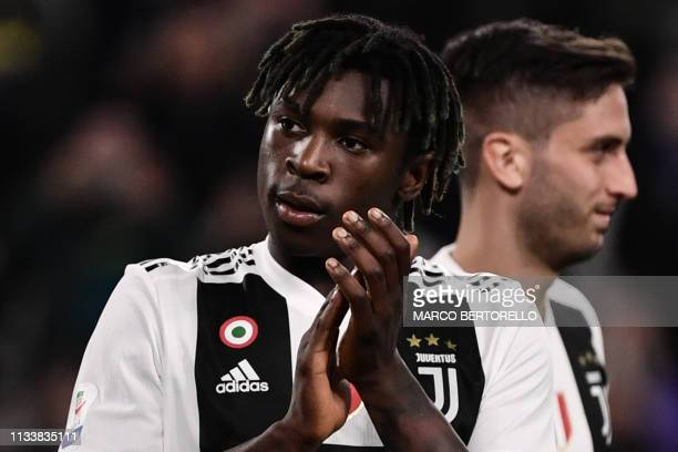 Juventus' Italian forward Moise Kean acknowledges the public at the end of the Italian Serie A football match Juventus vs Empoli on March 30 2019 at...
