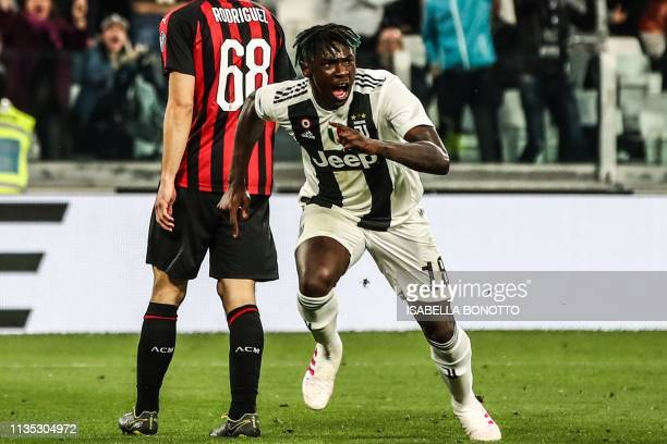 Juventus' Italian forward Moise Kean celebrates after scoring during the Italian Serie A football match Juventus vs AC Milan on April 6 2019 at the...