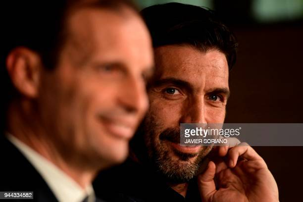 Juventus' Italian goalkeeper Gianluigi Buffon and Juventus' Italian coach Massimiliano Allegri give a press conference at the Santiago Bernabeu...