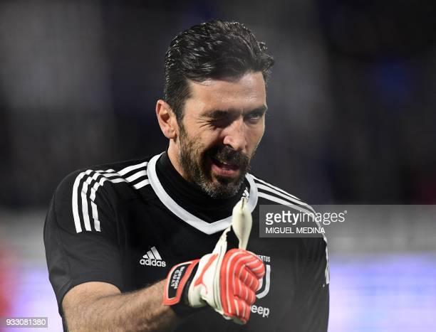 Juventus' Italian goalkeeper Gianluigi Buffon gestures prior the Italian Serie A football match Spal vs Juventus at the PaoloMazza stadium in Ferrara...