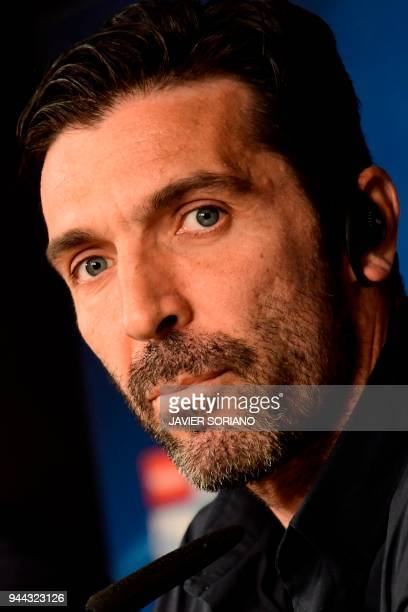 Juventus' Italian goalkeeper Gianluigi Buffon gives a press conference at the Santiago Bernabeu stadium in Madrid on April 10 2018 on the eve of the...