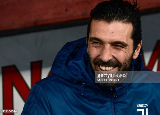 Juventus' Italian goalkeeper Gianluigi Buffon is pictured prior to the Italian Serie A football match AC Chievo vs Juventus at the...