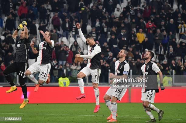 Juventus' Italian goalkeeper Gianluigi Buffon Juventus' Argentinian forward Gonzalo Higuain Juventus' Portuguese forward Cristiano Ronaldo Juventus'...