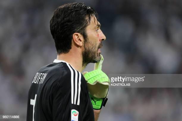 STADIUM TORINO PIEMONTE ITALY Juventus' Italian goalkeeper Gianluigi Buffon reacts at the end of the Italian Serie A football match FC Juventus vs...