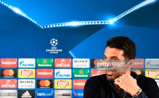 Juventus' Italian goalkeeper Gianluigi Buffon reacts during a press conference at the 'Louis II Stadium' in Monaco on May 2 2017 on the eve of their...