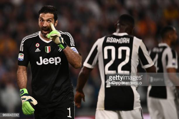 Juventus' Italian goalkeeper Gianluigi Buffon reacts reacts during the Italian Serie A football match between Juventus and Napoli on April 22 2018 at...