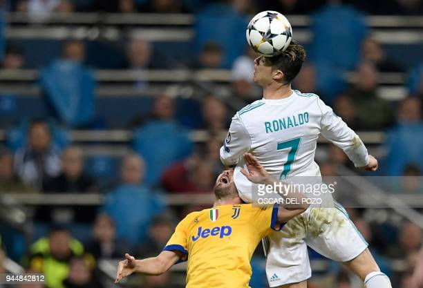 Juventus' Italian midfielder Miralem Pjanic vies with Real Madrid's Portuguese forward Cristiano Ronaldo during the UEFA Champions League...