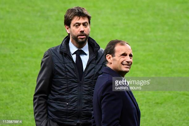 Juventus' Italian president Andrea Agnelli and Italian coach Massimiliano Allegri stand on the pitch during a walkaround at the Wanda Metropolitan...