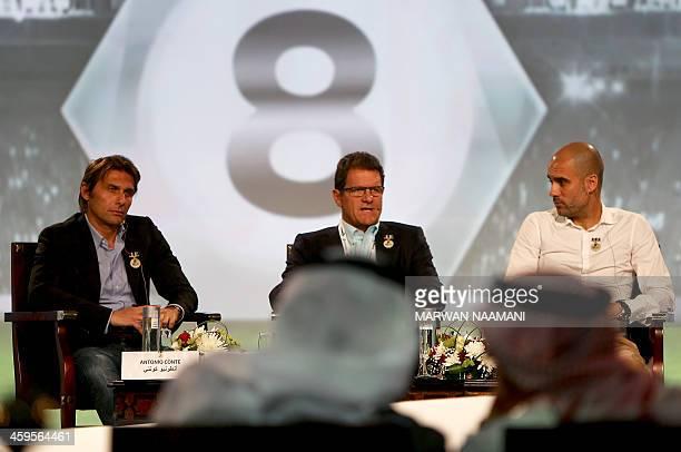 Juventus' Italian team manager Antonio Conte Russia's coach Italian Fabio Capello and Bayern Munich's Spanish head coach Pep Guardiola attend the...