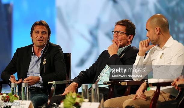 Juventus' Italian team manager Antonio Conte speaks as Russia's coach Italian Fabio Capello and Bayern Munich's Spanish head coach Pep Guardiola...