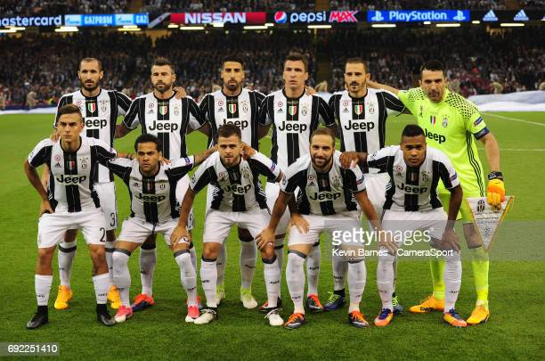 Juventus line up before kickoff during the UEFA Champions League Final match between Juventus and Real Madrid at National Stadium of Wales on June 3...