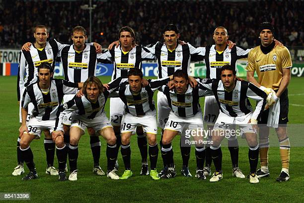 Juventus line up during the UEFA Champions League, First knock-out round, second leg match between Juventus and Chelsea at Stadio Olimpico di Torino...