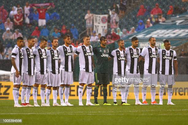Juventus look on during the national anthems before the match against Bayern Munich during the International Champions Cup 2018 at Lincoln Financial...