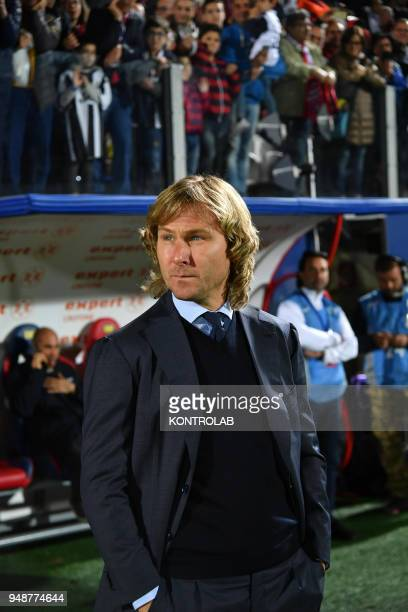 Juventus' manger Pavel Nedved looks on before the Italian Serie A football match FC Crotone vs FC Juventus on April 18 2018 at the Ezio Scida...