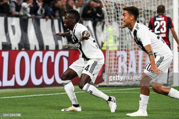 Juventus midfielder Blaise Matuidi celebrates with Juventus forward Paulo Dybala dancing after scoring his goal during the Serie A football match n6...