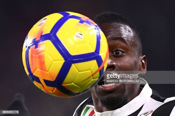 Juventus' midfielder Blaise Matuidi from France eyes the ball during the Italian Serie A football match Juventus vs Inter Milan on December 9 2017 at...