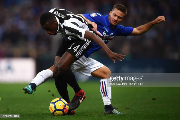 Juventus' midfielder Blaise Matuidi from France fights for the ball with Sampdoria's midfielder Dennis Praet of Belgium during the Italian Serie A...