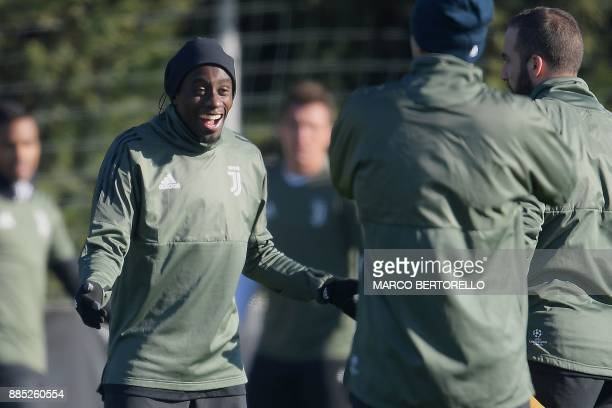 Juventus' midfielder Blaise Matuidi from France takes part in a training session on the eve of the UEFA Champions League football match Olympiacos Vs...