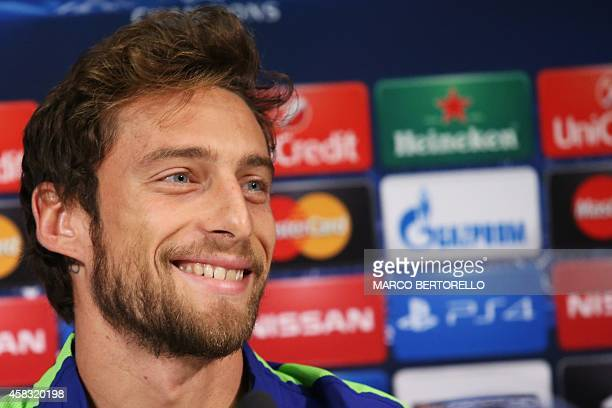 Juventus' midfielder Claudio Marchisio attends a press conference on the eve of the Champions League football match Juventus vs Olympiacos on...