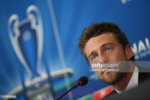 Juventus' midfielder Claudio Marchisio gives a press conference five days before the final of the UEFA Champions League football match Juventus vs...