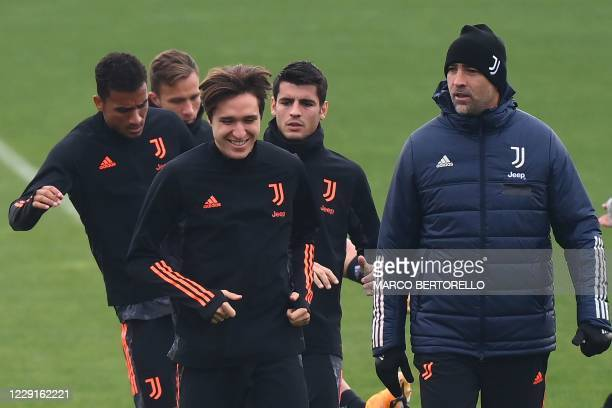 Juventus midfielder Federico Chiesa from Italy attends the training session at the Juventus Training Center in Turin on the eve of the UEFA Champions...