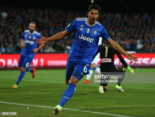 Juventus' midfielder from Germany Sami Khedira celebrates after scoring during the Italian Serie A football match SSC Napoli vs Juventus FC on April...