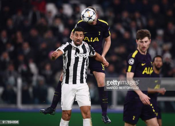 Juventus' midfielder from Germany Sami Khedira fights for the ball with Tottenham Hotspur's English defender Eric Dier during the UEFA Champions...