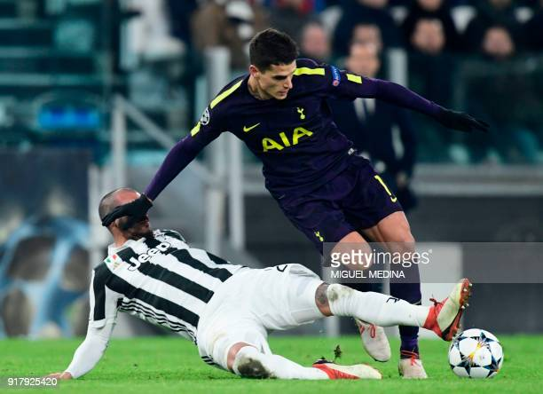 Juventus' midfielder from Italy Stefano Sturaro fights for the ball with Tottenham Hotspur's Argentinian midfielder Erik Lamela during the UEFA...