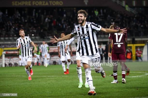 Juventus midfielder Manuel Locatelli celebrates after scoring his goal to make it 0-1 during the Serie A football match n.7 TORINO - JUVENTUS on...