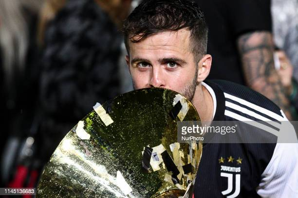 Juventus midfielder Miralem Pjanic celebrates victory of italian Serie A championship after the Serie A football match n37 JUVENTUS ATALANTA on at...