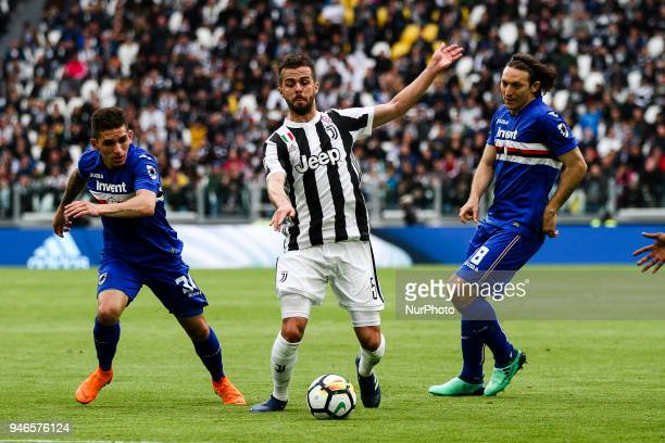 Juventus midfielder Miralem Pjanic in action during the Serie A football match n32 Juventus and Sampdoria on 15 April 2018 at the Allianz Stadium in...