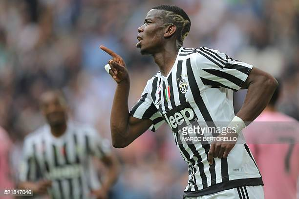 Juventus' midfielder Paul Pogba from France celebrates after scoring during the Italian Serie A football match Juventus vs Palermo on April 17 2016...