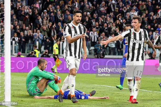 Juventus midfielder Sami Khedira celebrates after scoring his goal during the Serie A football match n32 Juventus FC and US Sampdoria at Allianz...