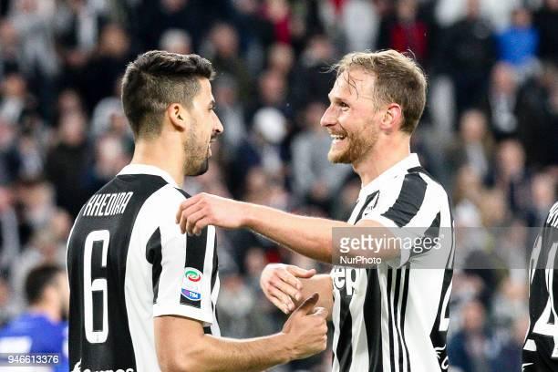 Juventus midfielder Sami Khedira celebrates with Juventus defender Benedikt Howedes after scoring his goal during the Serie A football match n32...