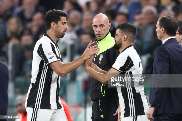 Juventus midfielder Sami Khedira shoots the ball Juventus midfielder Tomas Rincon during the Serie A football match n33 JUVENTUS GENOA on at the...