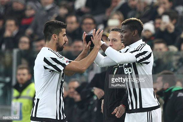 Juventus midfielder Sami Khedira substituded by Juventus midfielder Paul Pogba during the Serie A football match n29 JUVENTUS SASSUOLO on 11/03/16 at...