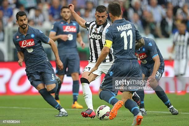 Juventus' midfielder Stefano Sturaro scores during the Italian Serie A football match Juventus vs Napoli on May 23 2015 at the Juventus stadium in...