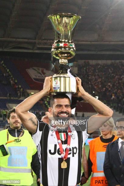Juventus midfielder Tomas Rincon celebrates victory after the Coppa Italia final football match JUVENTUS LAZIO on at the Stadio Olimpico in Rome Italy