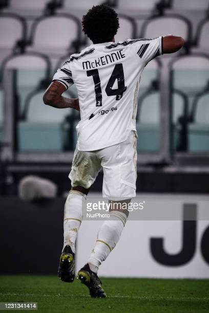 Juventus midfielder Weston McKennie celebrates after scoring his goal to make it 3-0 during the Serie A football match n.23 JUVENTUS - CROTONE on...