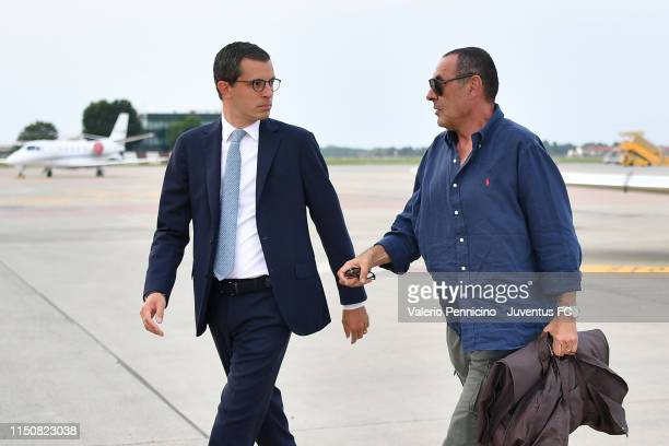 Juventus new coach Maurizio Sarri is seen upon his arrival at Caselle Airport on June 19, 2019 in Turin, Italy.