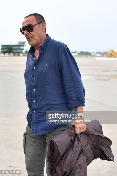 Juventus new coach Maurizio Sarri is seen upon his arrival at Caselle Airport on June 19 2019 in Turin Italy