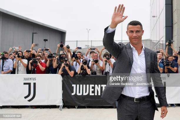Juventus new signing Cristiano Ronaldo arrives at JMedical on July 16 2018 in Turin Italy