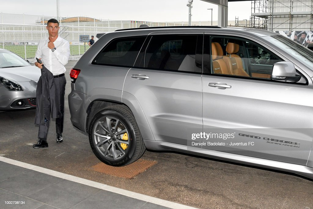 Juventus new signing Cristiano Ronaldo arrives at Juventus training center on July 16, 2018 in Turin, Italy.