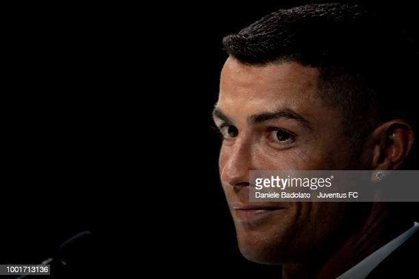 Juventus new signing Cristiano Ronaldo attends a press conference at Allianz Stadium on July 16 2018 in Turin Italy