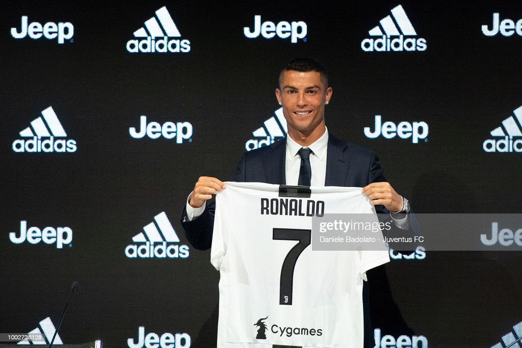 Juventus new signing Cristiano Ronaldo during the presentation press conference at Allianz stadium on July 16, 2018 in Turin, Italy.