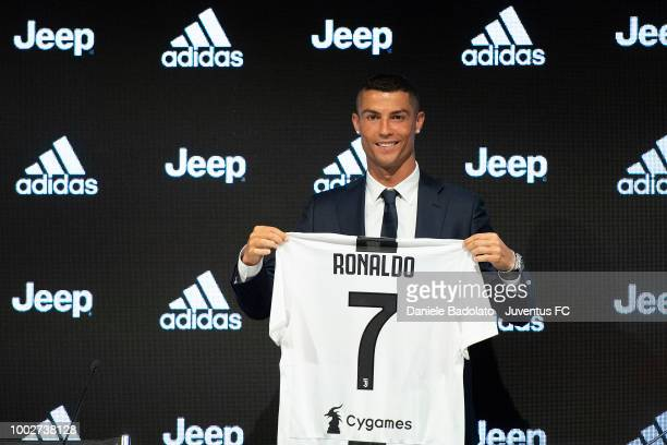 Juventus new signing Cristiano Ronaldo during the presentation press conference at Allianz stadium on July 16 2018 in Turin Italy