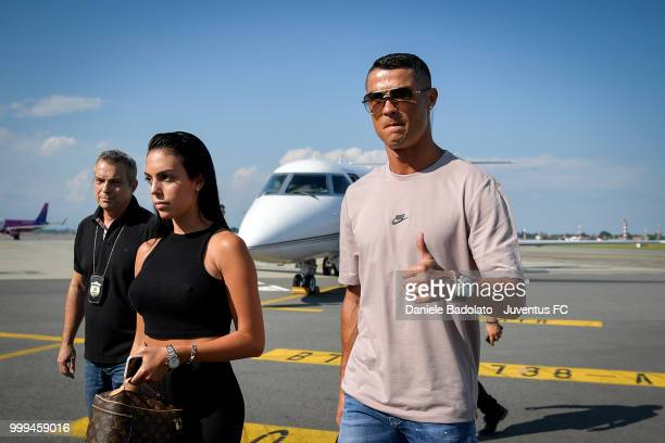 Juventus new signing Cristiano Ronaldo is seen upon his arrival at Caselle Airport on July 16 2018 in Turin Italy