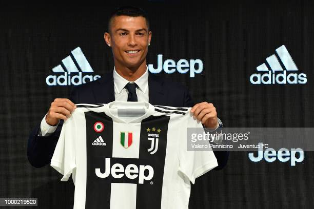 Juventus new signing Cristiano Ronaldo poses for the media during the press conference on July 16 2018 in Turin Italy