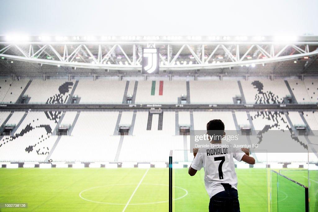 Juventus new signing Cristiano Ronaldo son at Allianz stadium on July 16, 2018 in Turin, Italy.